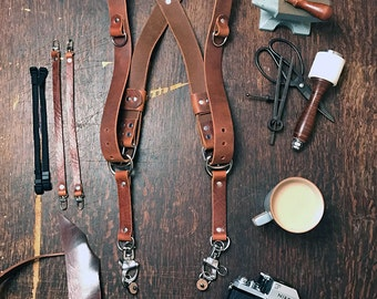 Dual Camera Harness Real Full Grain Leather Multicamera Harness Brown