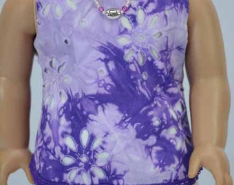 American Girl or 18 Inch Doll TANK TEE Top in Purple and White Tie Dye Print with Surprise NECKLACE and Shorts Sandals Options
