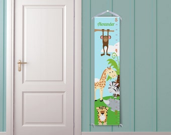 Jungle Animal Friends in Blue-Personalized Children's Growth Chart
