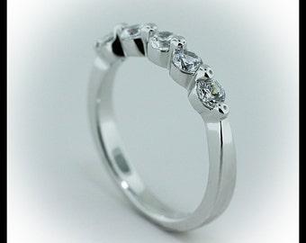 One Prong Diamond Wedding Band