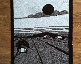X-large woven wall hanging in wool, motif of sunset over landscape by Hanhisalon Kutomo Ky Finland.