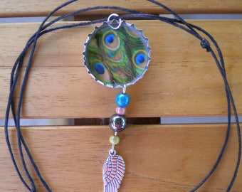Bottlecap recycled pendant with charm