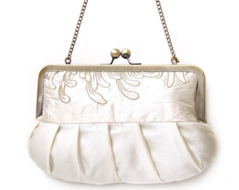 Clutch purse, ivory embroidered silk flower bag, wedding clutch, bridesmaid gift, IVORY CHRYSANTHEMUM