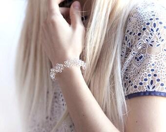 Flower bridal bracelet White crystal bracelet Crystal bridal bracelet Gold bracelet Flower bracelet Bridal bracelet Floral bracelet 694
