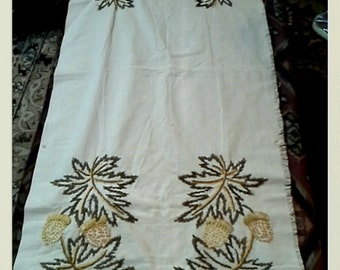 Vintage Embroidery Table Runner Hand Stitched