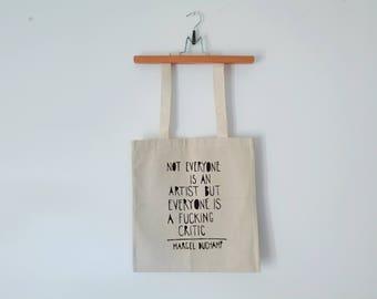 Tote Bag - Screenprint Over Cotton Canvas Tote Bag Marcel Duchamp