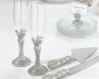 Wedding Knife and Server Set Champagne Flutes Set Vintage Inspired Toasting Glasses