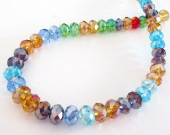 "Crystal Rondelles - Faceted Glass Abacus Beads - Mix Assorted Color Glass - Drilled Sparkly Beads - 8mm - 9"" Strand 40 Pcs - DIY Jewelry"