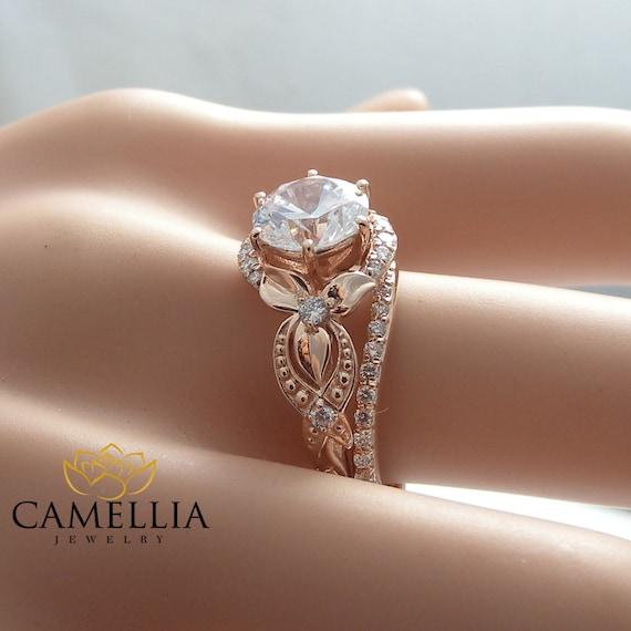 Unique Moissanite Engagement Ring Set 14K Rose Gold Engagement