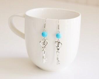 Heart Key Dangle Earrings