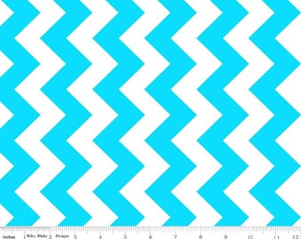 SALE - Neon Chevron - Medium Chevron Neon Blue by RBD from Riley Blake