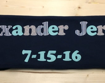 Navy Blue Baby Blanket, Personalized Baby Blanket, Personalized Baby Gift, Newborn Blanket, Baby Shower Gift, Navy and Mint Baby, Alexander