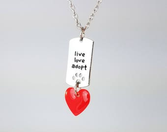 """Live Love Adopt Pet Paw Necklace With Red Enamel Heart Charm and 24"""" Necklace and Organza Bag"""