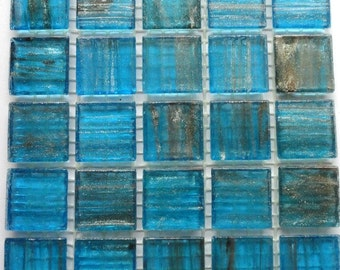 "20mm (3/4"") Caribbean Ocean Blue and Gold Translucent Mosaic Tiles//Mosaic Supplies//Crafts//Mosaic"