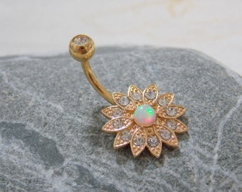14G Floral Navel Bar Rose gold Flower Belly ring ,White opal Navel Ring Rhinestone Crystal Belly Ring Belly Button Ring