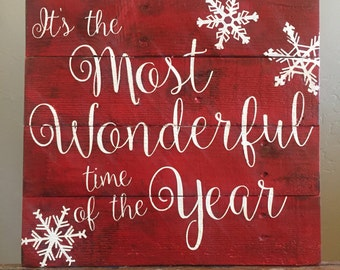 It's the most wonderful time of year reclaimed wood sign