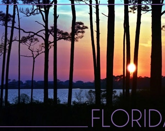 Florida - Sunset and Silhouette (Art Prints available in multiple sizes)
