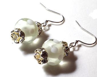 Decorated Handcrafted Lampwork Glass & Sterling Drop Earrings # 5