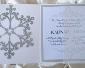 Winter Phantom - Winter themed Sweet Sixteen/Quinceanera/ Bat Mitzvah Invitation - LaMorAInvitations
