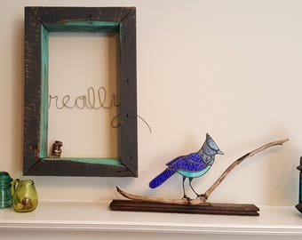 Stained Glass Steller's Jay