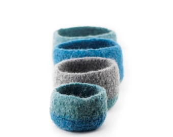 WOOLY FELTED Nesting Bowls - wooly bowls to put your stuff into - blue, green, teal, sea, turquoise shades 14*