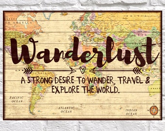 Dorm decor Wanderlust sign Wood wall art decor World map Travel gift for Men gift for Women gift for Best friend gift Panel effect wood art