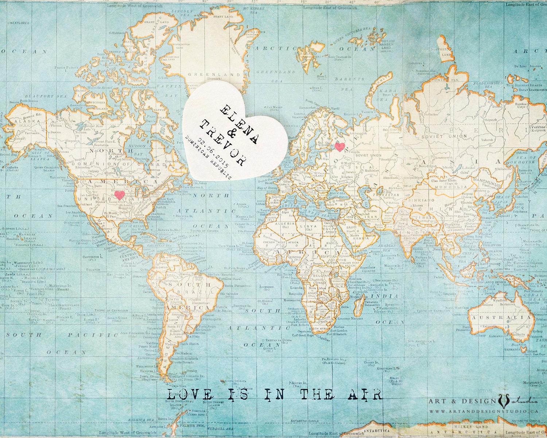 Anniversary World Map First Year Anniversary Gift