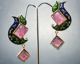 Pretty Splendid Chandelier Enamel Cloisonne Pink Stone Flower Dangle Earring