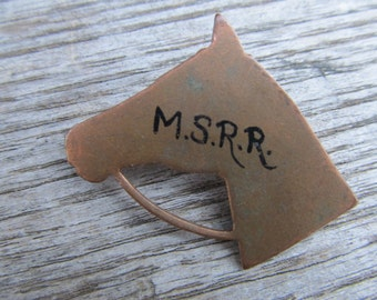 Vintage Copper Horsehead Brooch - Copper Horse Pin - M.S.R.R.