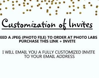 Customization of Invites JPEG Format / Picture Format / One to a Page / I edit for you