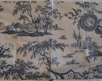 Antique Beautiful 19th C. French Scenic Toile Cotton Print Fabric (9136)