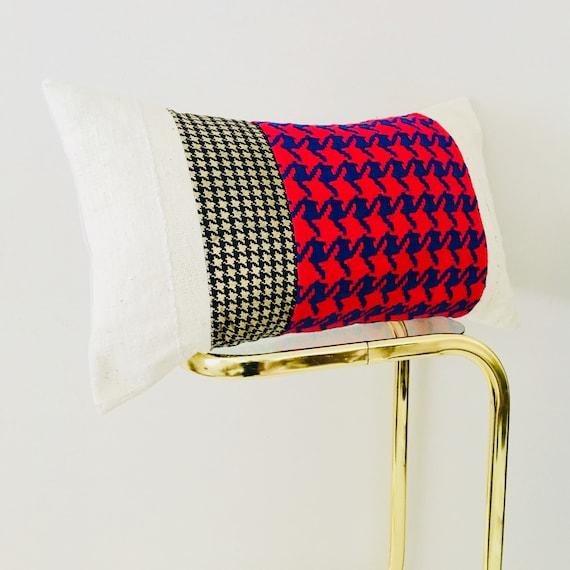 "Vintage Red and Blue Houndstooth Pillow Cover 14""x24"" Lumbar Cushion Pillow Black and Metallic Gold Houndstooth Glam Boho Chic Pillow"