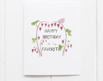 Bleeding Hearts Birthday Card / Floral Birthday Card / Botanical Card / Watercolor Card / Bleeding Hearts / Gifts for Her / Garden Birthday