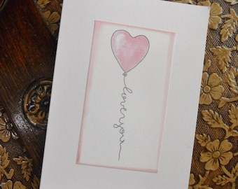 Heart Balloon Love You Cards -set of 5