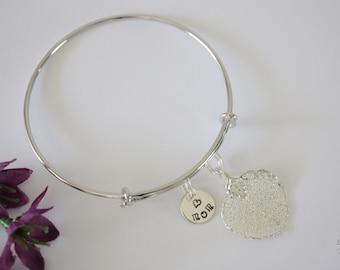 Mom Bangle Silver Leaf Bracelet, Real Leaf Bracelet, Sterling SIlver Aspen, Initial Charm, Leaf Bangle, Mother Gift, Aspen, Brass, Mix Metal