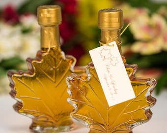 Maple Syrup Wedding Favors- Case of 24 (100ml Maple Leaf Glass Bottle)