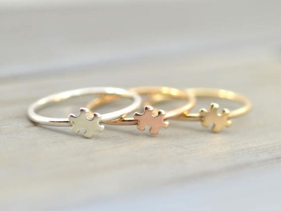 Gold Puzzle ring Puzzle jewelry Dainty cute ring Puzzle