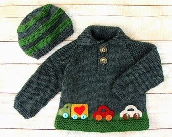 Hand Knitted Baby Boy Sweater With Car Appliques - 100% Wool Boys Clothing Size 12 Months - Baby Boys Gray Polo Sweater