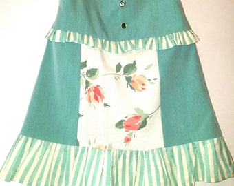 Little Girls Green Dress with Flowers and Stripes