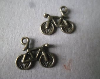 5 charms/pendants bicycle color patterns x bronze 15 x 13 mm