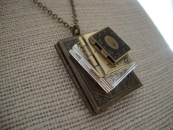 Stack of books locket necklace stacked book locket necklace aloadofball Choice Image