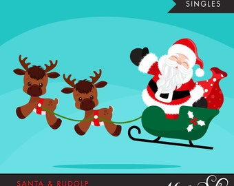 Santa clipart with gift bags, rudolph the reindeer graphics. Christmas illustrations, Noel clipart, red, black