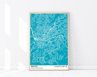 Bristol Map Print, Custom Map Print, Street Map, Choose Your Own City, Wall Art, Map Wall Art, City Map Print, Bristol City Map Poster