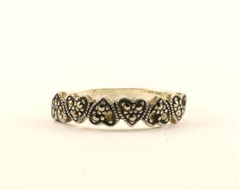 Vintage Heart Design Marcasite Band Ring 925 Sterling RG 90