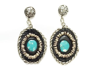 50% OFF Avasa -  Geniune turquoise embedded and hand sewn with black leather and sterling silver