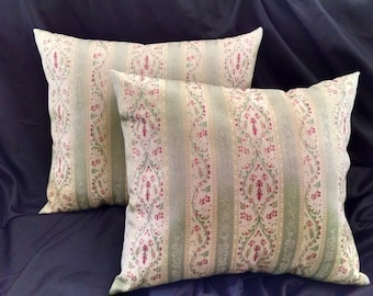 Handmade Pillows - Victorian Style Floral Stripes of Teal, Rose & Cream, Rectangle (#30109)