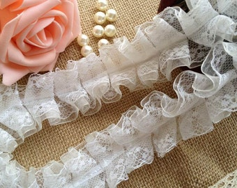 Pretty White Lace and off-white Ribbon for Wedding, Shower, Party, Home Decor, Crafting