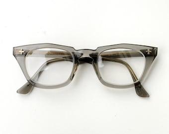 vintage 50s clear gray wayfarer glasses eyeglasses Bausch Lomb B&L safety 1950 nerd geek Lucky 7