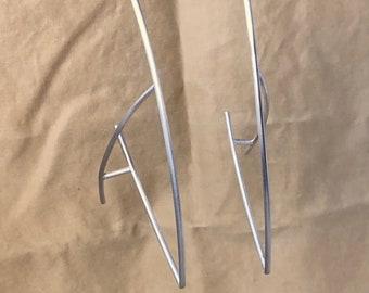 Anti-Hoop Earrings in Sterling 925 Silver + 14k Posts Backs