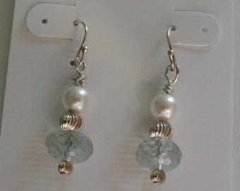 Green Amethyst Earrings with Pearls    -  #334